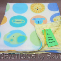 Baby Minky Blanket, Stroller Blanket, Play Mat, Changing Pad, Yellow, Animals Unisex Gender Neutral READY TO SHIP (17)