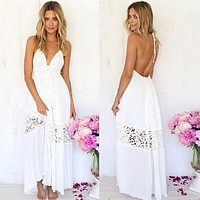 Fashion Solid Color Lace Stitching Halter Backless Sleeveless Deep V Maxi Dress
