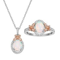 Lab-Created Opal & Lab-Created White Sapphire Sterling Silver Two Tone X & Oval Halo Pendant & Ring Set