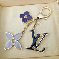 LV Louis Vuitton Color Four Leaf Flower Key chain - Buckle Classic Car Key ring Black