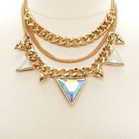 MIXED CHAIN & JEWELED TRIANGLE COLLAR NECKLACE