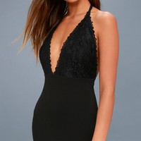 Prima Donna Life Black Lace Backless Maxi Dress