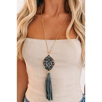 Here And There Statement Necklace (Grey)