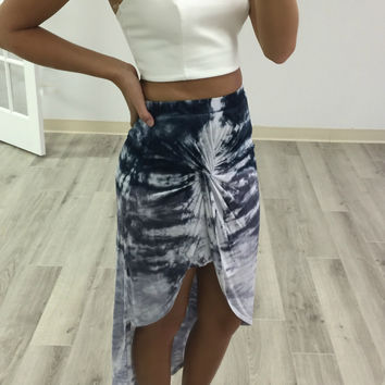 Walk By The Water Blue And Gray Tie Dye High Low Tulip Skirt
