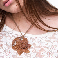 Daffodil pendant flower necklace Large art jewelry Wood pendant Elegant feminine jewellery 5th Anniversary gift for her girlfriend Mother