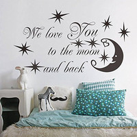 """SWORNA Baby Nursery Series We Love You To The Moon with Moon/Star Removable Vinyl DIY Kids Wall Art Decal Saying Lettering Quotes Uplifting Children's Bedroom/Playroom/Kindergarten 24"""" H X 46"""" W Black"""