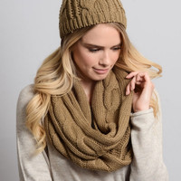 Cable Knit Scarf and Hat Set - Mocha