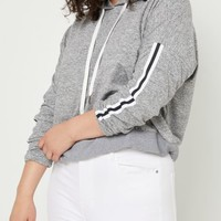 Plus Gray Stripe Sleeve Super Soft Cropped Hoodie