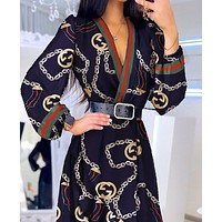 Printed Lantern Sleeve Ruffle wrap dress