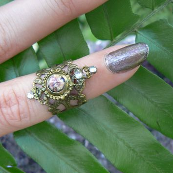 purple midi ring,Amethyst fire opal,fire opal knuckle ring,elfin,steampunk