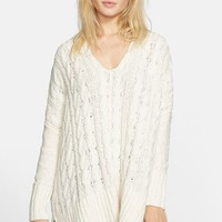 Women's Free People Easy Cable V-Neck Sweater,