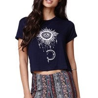 LA Hearts Sun Moon Shrunken T-Shirt - Womens Tee - Blue