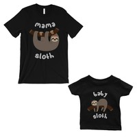 Mama Baby Sloth Mom and Baby Matching T-Shirts Black Mother's Day