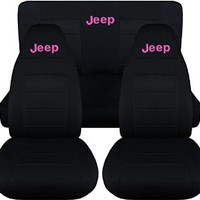 Jeep Wrangler TJ (1997 to 2006) Black Seat Covers with Jeep: Black with Hot Pink - Full Set (22 Colors Available)