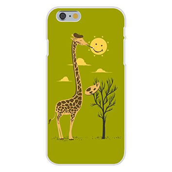 Apple iPhone 6 Custom Case White Plastic Snap On - 'Painting Smiley' Funny Cartoon Giraffe Artist Painter & Sun Smiling