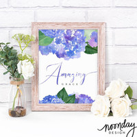 Amazing Grace Printable Art, Hymn Art, Printable, Christian Gift, Hydrangeas Art Print, Instant Download, Watercolor Flowers