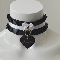 Kitten play collar - Tagged kitty - black gothic witch pleated choker with pendant - bdsm pet tag