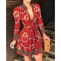 GUCCI Summer Fashion Women Retro Long Sleeve Dress