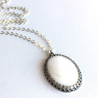 Mother of Pearl Necklace, Long Silver Chain, Large White Ivory Single Pearl Pendant