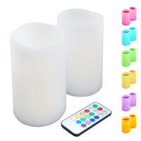 Flickering LED Candles Remote Control- Multi Color- 2ct