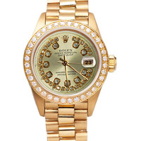 Champagne string diamond dial rolex date just watch yellow gold president style