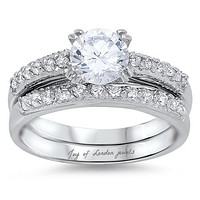 A Perfect 1.8CT Round Cut Russian Lab Diamond Solitaire Bridal Set Wedding Band Ring