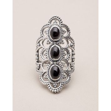 Black Onyx Antique Silver Ring - Size 7