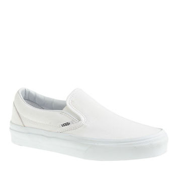 J.Crew Womens Vans Solid Canvas Classic Slip-On Sneakers In White