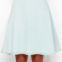 Pleased as Punch Light Wash Chambray Midi Skirt