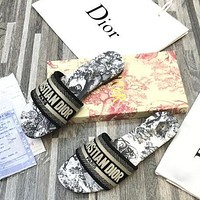Dior CD new women's shoes woven embroidered flat slippers leather letter printing outer wear thick heel slippers ,