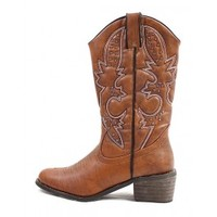 Dollhouse Rancher Cowboy Studded Embroidered Cowboy Mid Calf Boot