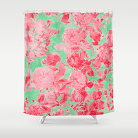 Roses Are Pink Shower Curtain by Shawn King