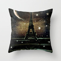 Paris Midnight Throw Pillow by Deniz Erçelebi