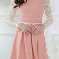 Lace Paneled Peter Pan Collar Long Sleeve Skater Dress