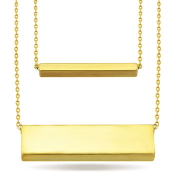 Layered Geometric Necklace, 14K Gold Plated Modern 2 Bar Necklace, Modern Jewelry