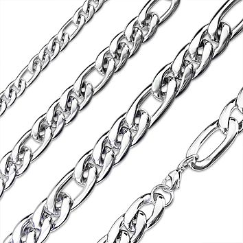 Zeus Chain Necklace - Stainless Steel Small and Large Link Chain Necklace with Lobster Clasp