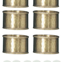 Park Design 945-75A Brass Hammered Cuff Napkin Rings Set of 6 with 6-Pack of Tea Candles