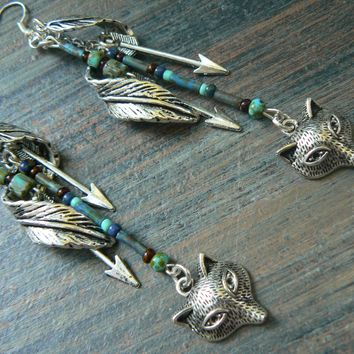 Wolf Feather Earrings Tribal Fox Earrings Woodland