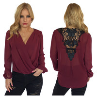 Black Rose Blouse In Burgundy
