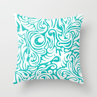 Organics in Teal Throw Pillow by House of Jennifer