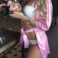Pink Patchwork Lace Sashes Elbow Sleeve Satin Coat