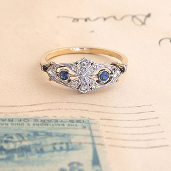 French Diamond and Sapphire Mask Ring   Erica Weiner