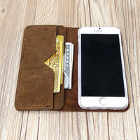 iPhone 6 Case, iPhone 6s Wallet Case, Leather iPhone 6 Plus Case, Distressed Leather iPhone Case, Bifold Wallet, Personalized Gift, H487