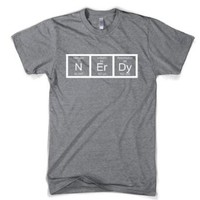 Nerdy Periodic Table T Shirt Funny Science Shirts Mens L