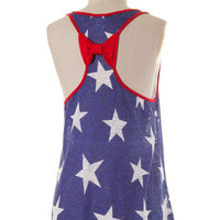 Fourth of July Bow Back Tank Top - Blue