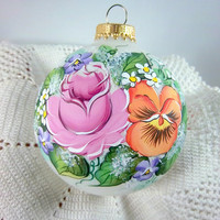 Victorian Christmas Ornament, Rose, Pansy, Violet, Pinks, Purple, Deep Peach, Free Inscription, Keepsake Ornament