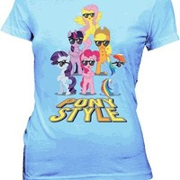 My Little Pony Mane 6 Pony Style with Glasses Juniors Sky Blue T-Shirt - My Little Pony - Free Shipping on orders over $60 | TV Store Online