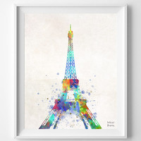 Eiffel Tower, France, Paris, Watercolor Print, La Tour Eiffel, Illustration Art, eiffel top, European, Europe, Nursery, Decor [NO 396]