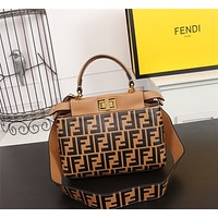 FENDI WOMEN'S LEATHER PEEKABOO HANDBAG INCLINED SHOULDER BAG