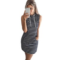 Summer Autumn Women Casual Hooded Pocket Mini Dress Female Stripe Slim Bodycon Sexy Party Club Dresses Vestidos Plus Size